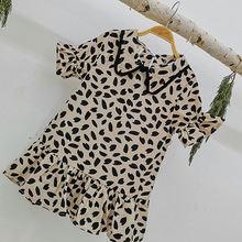 Girls Clothes New Summer Dresses Casual Ruffled Rim Dress Kids Leopard Pattern Print For 3-7Y