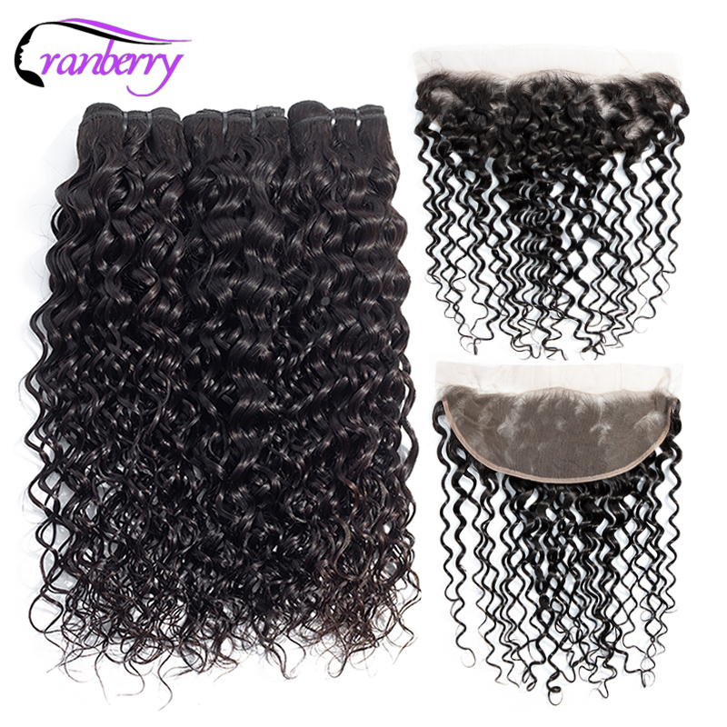 Cranberry Remy Hair Brazillian Hair Bundles With Closure Water Wave Bundles With Frontal Free Shipping