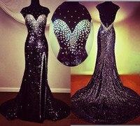 Glitter Elegant Long Black Evening Dress Crystals Vestido Lentejuelas Longo Mermaid Prom Dresses 2015 Backless Front