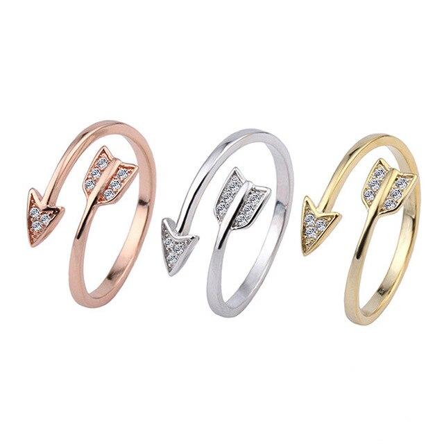 LNRRABC Fashion Stainless Steel Arrow Crystal Open Rings For Women Adjustable En