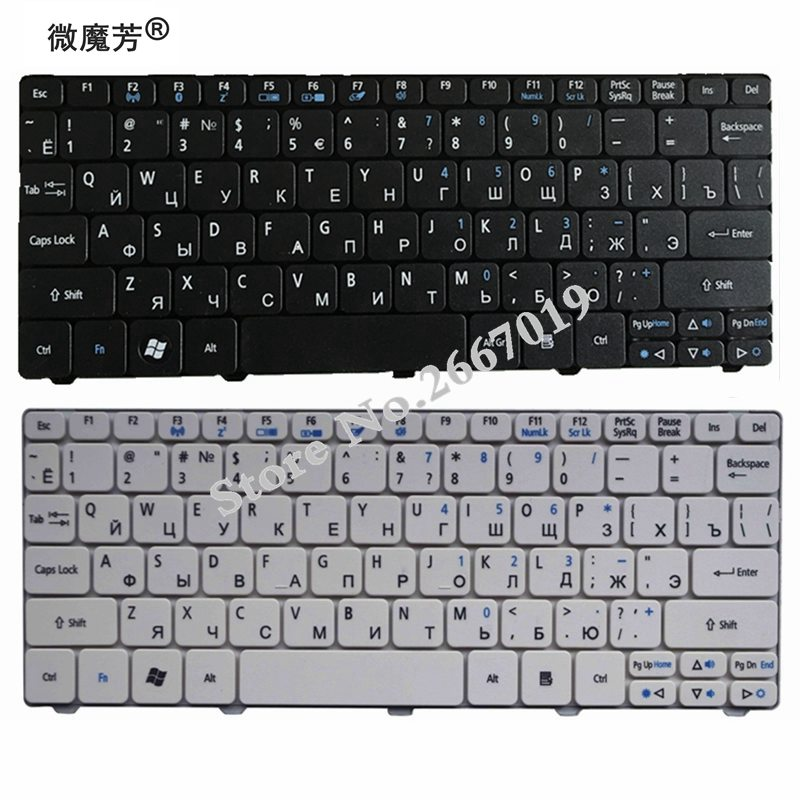 RU V New FOR ACER D255 D256 D257 D260 D270 EM350 N55C ZH9 ZE6 ONE 522 533 532G AO532h 532H 521 AO522 Laptop Keyboard Russian