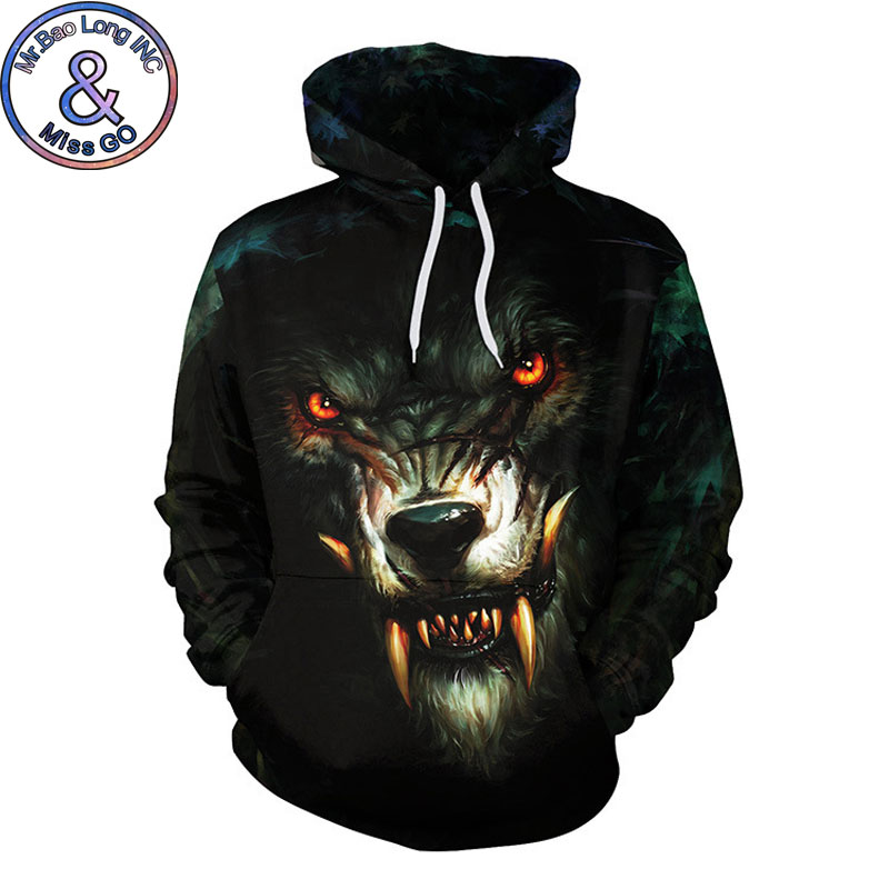 Cool 3D Wolf Print Hoodie Hoodies Sweatshirts Men Women 2018 Funny Harajuku Hip Hop Hooded Sweatshirt Men Tracksuit Sweat Homme