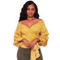 Elegant Bow Tie Off Shoulder Blouse Sexy V Neck Lantern Sleeve Polka Dot Shirts Autumn Casual