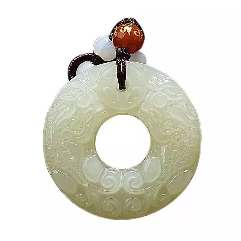 32*32mm Natural Stone Necklace Jewelry Pendant Afghan jade safe double buckle pendant lucky lucky transfer advanced White jade