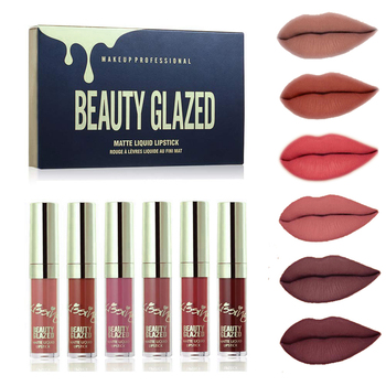 Matte Velvety Liquid Lipstick Beauty Glazed New Arrival 6pcs Lipgloss Waterproof Long Lasting Non-Stick Cup Lip Stick Set
