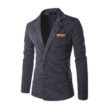 Men's Foreign Trade Autumn and Winter Single-breasted Skinned Lapel Sweater Dark gray/Black/Blue M/L/XL/2XL
