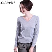Lafarvie Women Autumn Winter Cashmere Blend Sweater V-Neck Pullovers Long Sleeve Jumpers Womens Knitted Sweaters18 Colors S-XXXL недорго, оригинальная цена