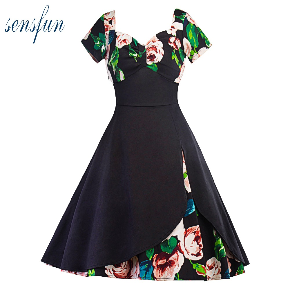 Sensfun 2017 Summer Dress Women Cotton Hepburn Robe Vintage Dresses Women Dresses Vestidos Retra Party Dresses Sundress