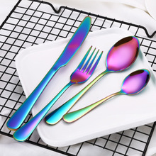 4Pcs/Set Colorful Flatware 304 Stainless Steel Tableware Steak Knife Fork Dinner Western Food HQ Rainbow Cutlery Set