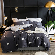 Papa&Mima Heart and star print bedding set Sanding cotton Queen King size flat sheet pillowcases duvet cover sets bedlinens