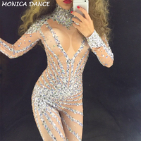 Women Stage Costumes for Singer Crystals Jumpsuits Long Sleeve jumpsuit Performance Party Celebrate Luxurious Shining Costume