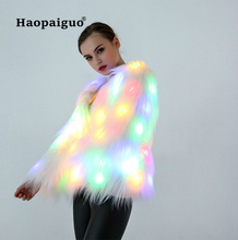 Faux Fur Coat Women Multicolor Clothes Hooded Women LED Luminous Faux Fur Coat Lady Bar Dance Cosplay Coat Merry Christmas 2018 zip up camo faux fur hooded coat