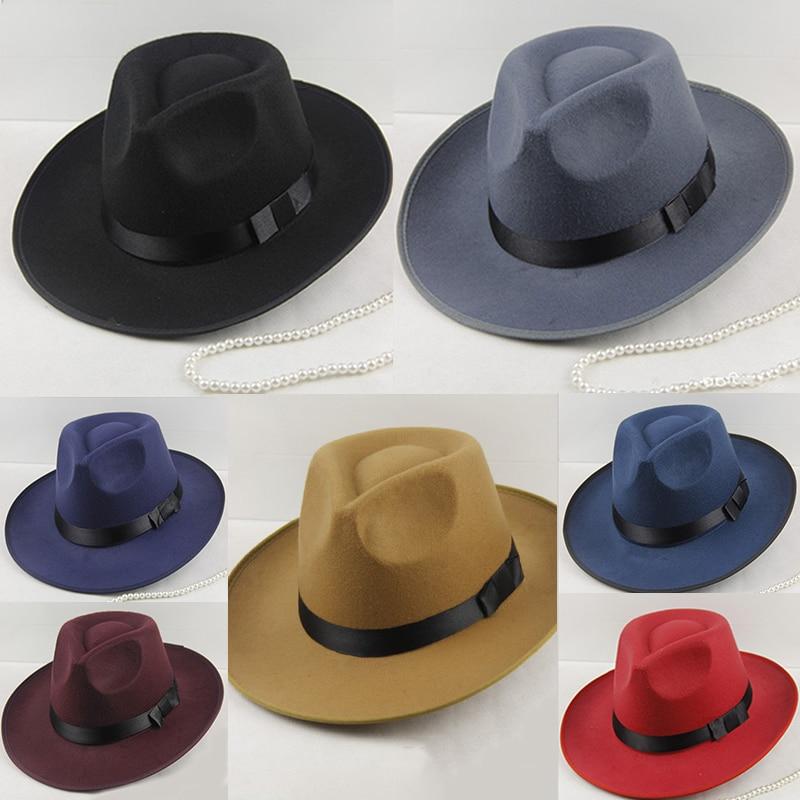 f02511404b4f0 Winter Vintage Warm Sun-shade Panama Fshion Gangster Cap Hard Wide Brim  Fedora Trilby Felt Hat British Style Women Men