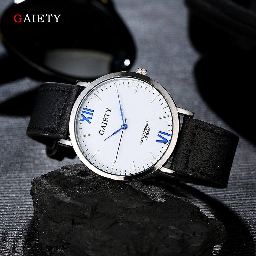 Gaiety Brand Luxury Men Silver Dial Style Casual Watch Business Sport Men Wristwatch Man Leather Strap Quartz Watches G033