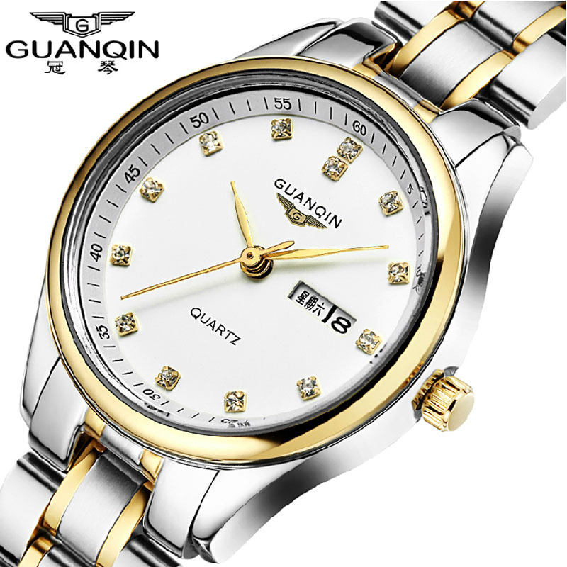 цена на Watch Women Quartz-Watch Top Brand GUANQIN Luxury Stainless Steel Strap Waterproof Diamond Female Dress Relogio Feminino 2016