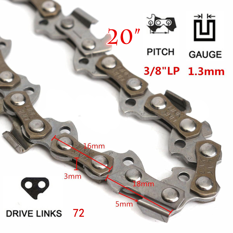 20 Chainsaw Saw Chain Blade 3/8LP .050 Gauge 72DL Shape Blade for Wood Cutting Garden Saw Chain Replacement Chiansaw Parts 4pcs 20 chainsaw guide bar with saw chain 3 8 72dl 63 for stihl ms290 ms291 310 340 360 361 361c power tools accessories