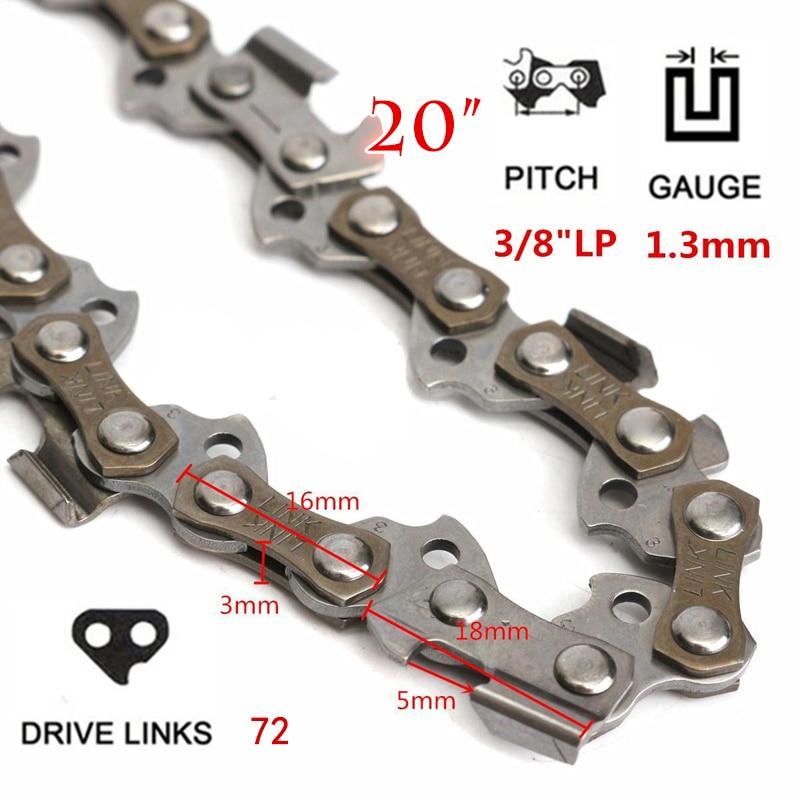 20 kettensäge Kette Klinge 3/8 Lp Hardware 050 Gauge 72dl Form Für Holz Schneiden Garten Sägekette Ersatz Chiansaw Teile