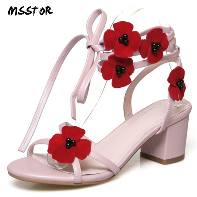 MSSTOR Flower Peep Toe Strap Sandals Sweet Elegant Pink Square Heel Summer Sandals Women Buckle Strap Ladies High Heels Sandals