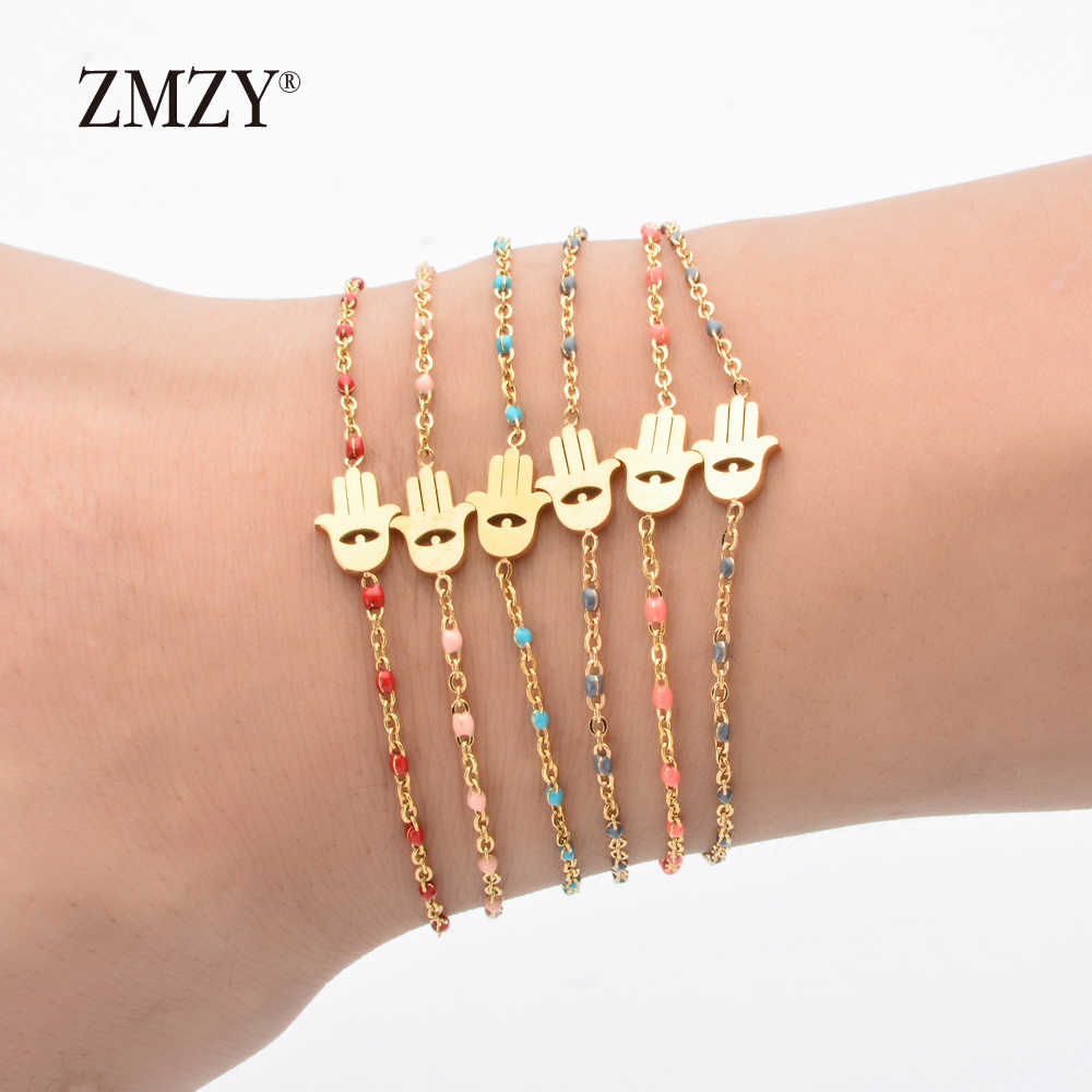 ZMZY Thin Chain Stainless Steel Bracelet Women Gold Color Evil Eye Hamsa Hand Turkish Jewelry Bangle Boho Wedding Bracelet