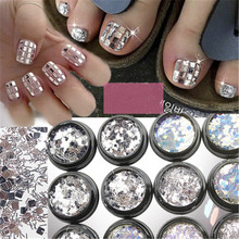 1 Jar Nail Sequin 2 Color Shinning Glitter Holographic Silver/Colorful 3ml/Jar Flakes 4 Shape Sequins