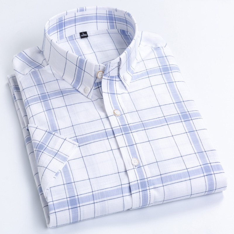 Men's Summer Casual Short Sleeve Shirts Standard-fit Thin Soft 100% Pure Cotton Pocket Button-collar Plaid Striped Tops Shirt