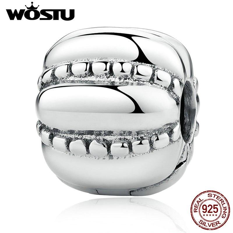 Aliexpress Vente CHAUDE Réel 925 Sterling Argent Fou Clip Charm Perles Fit Original wst Bracelet Authentique Bijoux Cadeau