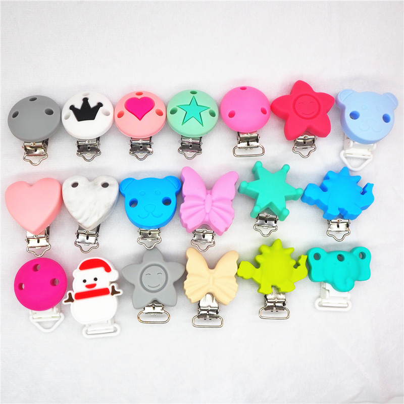 Chenkai 10pcs Silicone Clips DIY Round Star Butterfly Bear Flower Mickey Mouse Baby Teether Pacifier Dummy Holder Chain Clips