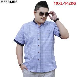 7ae063fcf98 MFERLIER men short sleeve summer dress plaid shirts casual