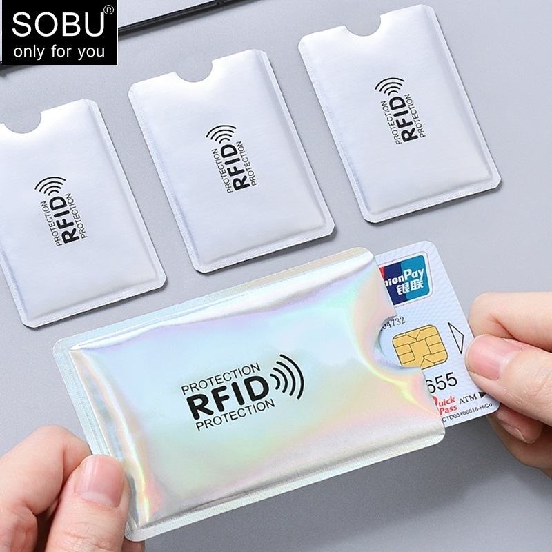 1pc New Aluminum Anti Rfid Reader Blocking Bank Credit Card Holder Protection New Rfid Card Reader Metal Credit Card Holder H039