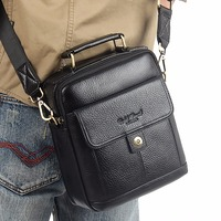 NEW Fashion 100% Genuine Leather Men Bags Tote Hand Head Layer Cowhide Small Messenger Bag Brand Design Casual bag Business Bag