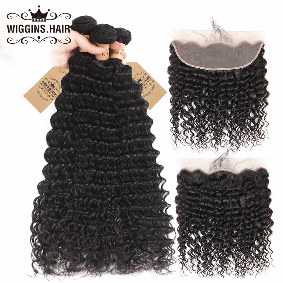 Wiggins Deep Wave 3 Bundles With 13x4 Lace Frontal Brazilian Hair Weave Bundles With Closure Remy Human Hair With Baby Hair