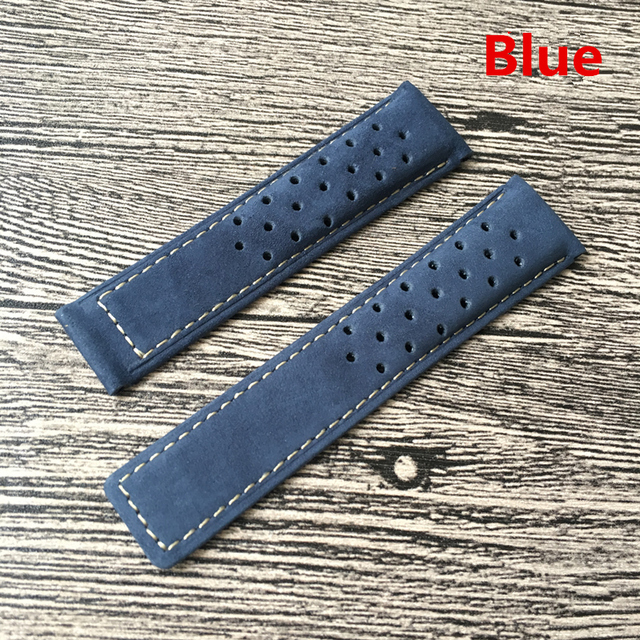 LUKENI 22mm 24mm Genuine Leather Watch Strap Black Brown Blue Gray Watchbands For TAG Carrera Heuer LINK MONACO AQUARACER Belt