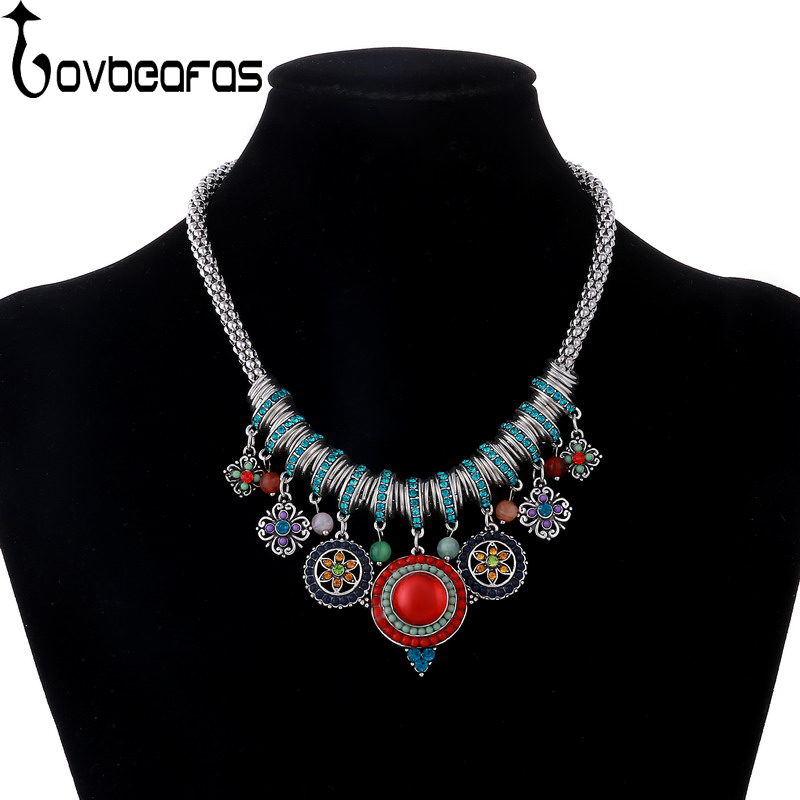 LOVBEAFAS Bohemian Maxi Choker Statement Necklace Women Vintage Collar Collier Necklace Colorful Boho Crystal Turkey Jewelry plus size funnel collar maxi asymmetric hoodie