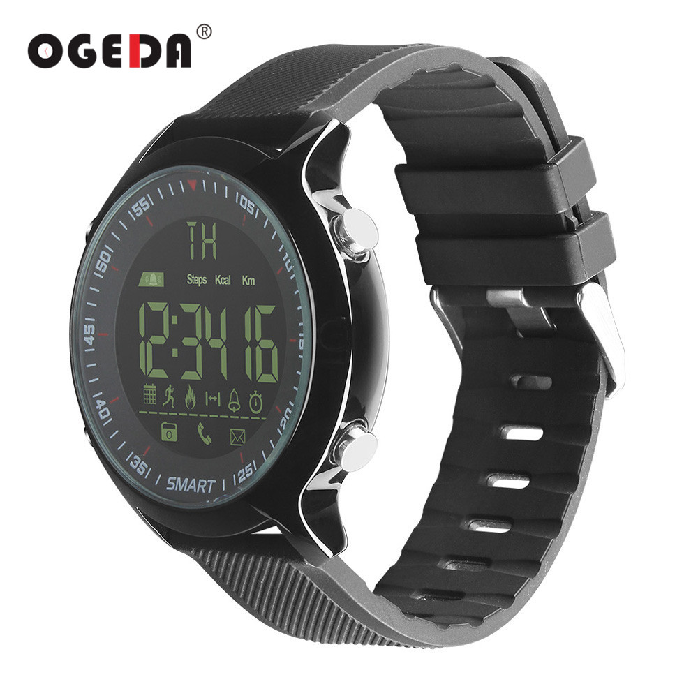D'OGEDA Montre Intelligente Hommes EX18 Plongée 50 m Étanche Podomètre Horloge Fitness Bluetooth Téléphone Message Push Sport Saine Montre Intelligente