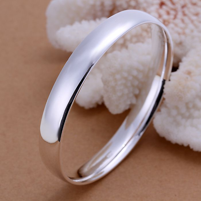 925 jewelry silver plated bangle bracelet, 925 jewelry jewelry, Gloss Oblate Bangle B169