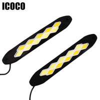 ICOCO LED 12W Car Daytime Running Light Double Rhombus Car Light Daytime Running Driving Safety Light