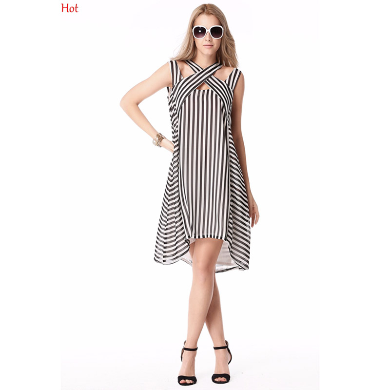 2230539e581f5 Kadın Yaz Elbise Gevşek Çizgili Şifon Elbise Çapraz Düzensiz Rahat Plaj  Kıyafeti Diz Boyu Elbise Kolsuz Vestidos YC000180