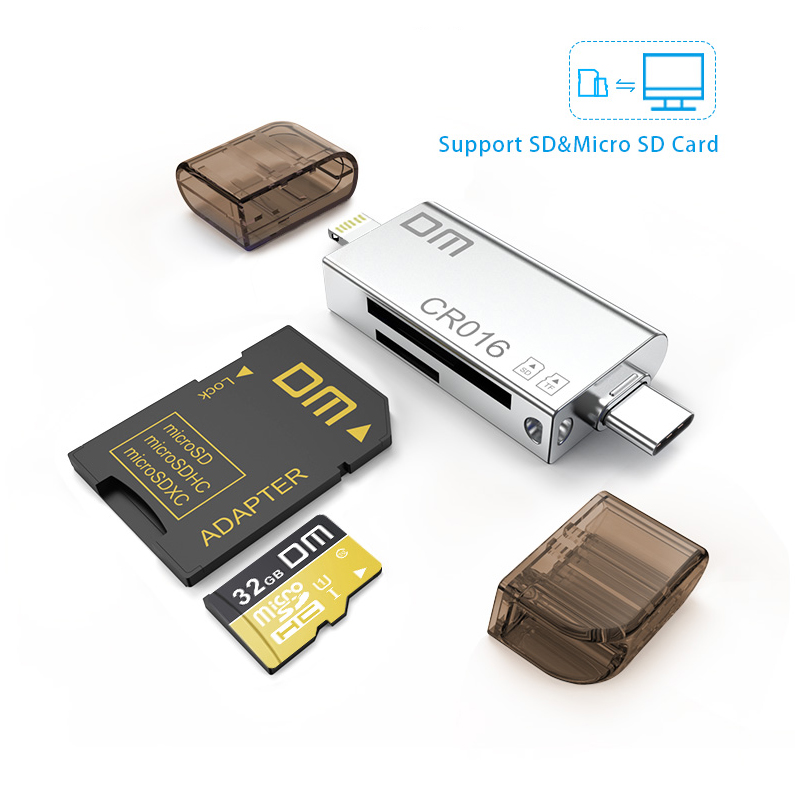 DM CR016 Lightning Micro SD/TF OTG Card Reader USB 3.0 Memory Mini Cardreader for iPhone 6/7/8 Plus iPod iPad OTG Card Reader-in Card Readers from Computer & Office