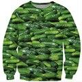Толстовка мужчин/женщин 3D пищевой печати толстовка соленья огурец смешной crewneck графический пуловер с капюшоном Sudaderas Hombre