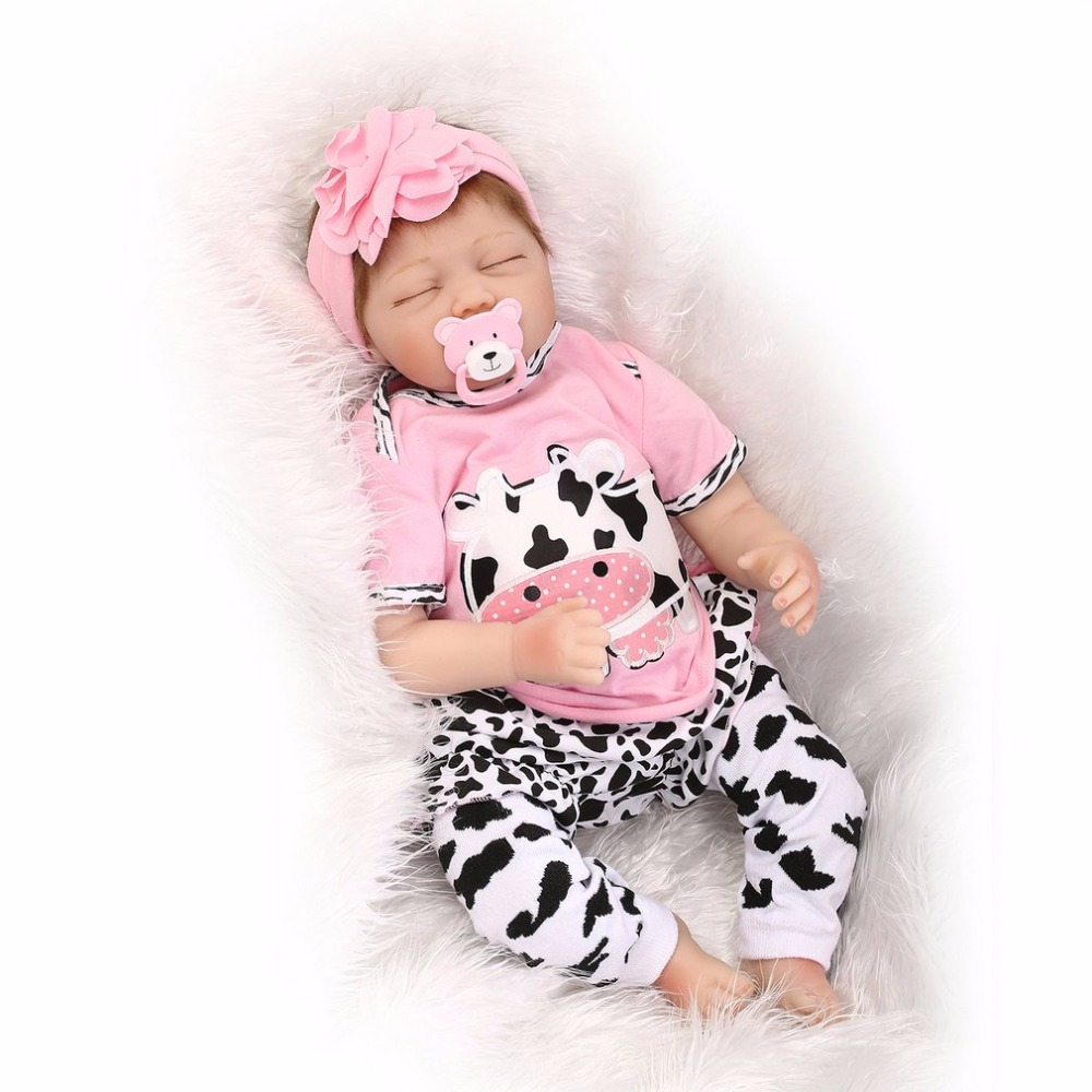Cute 55CM Sleeping Doll Reborn Baby Pink and Cow clothes Silicone Girl Lifelike Newborn Doll Best Gift For Children Girls Hot