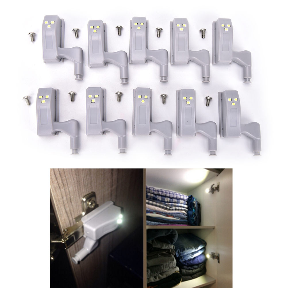 10pcs Led Cabinet Hinge Light Universal Kitchen Bedroom Living Room Cupboard Wardrobe Inner Sensor Light Hardware