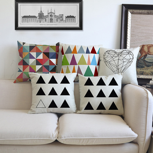 Decorative Accent Pillows Living Room Wood Look Tile Floors In Modern Geometric Cushion Colorful Throw Couch Outdoor Floor Chair Seat Home Decor