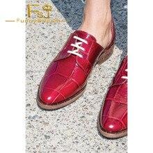Zapatos Oxford de mujer color borgoña, zapatos Vintage con cordones, primavera, otoño, generoso Noble Incomparable FSJ Sexy elegante