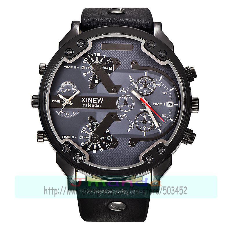 30 개/몫 xinew 5918 새로운 도착 고품질의 가죽 시계 큰 라운드 다이얼 캘린더 남자 석영 손목 시계 도매 날짜 시계-에서수정 시계부터 시계 의  그룹 1