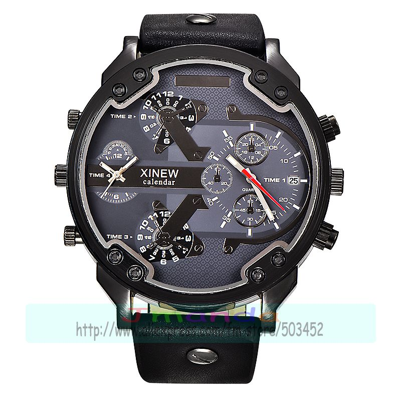 30pcs/lot xinew 5918 new arrival high quality leather watch big round dial calendar man quartz wristwatch wholesale date watch-in Quartz Watches from Watches    1