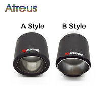 1X Universal Akrapovic Carbon Fiber Car Exhaust Tip Pipe Covers For BMW Volkswagen VW Mazda Toyota