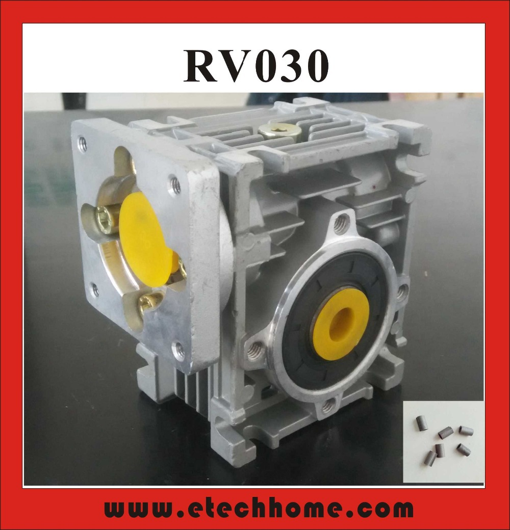 7.5:1 to 80:1 Worm Reducer RV030 Worm Gearbox Speed Reducer With Shaft Sleeve Adaptor for 8mm Input Shaft of Nema 23 Motor 10 1 square 8mm shaft 7 5mm base hole speed control gearhead reducer