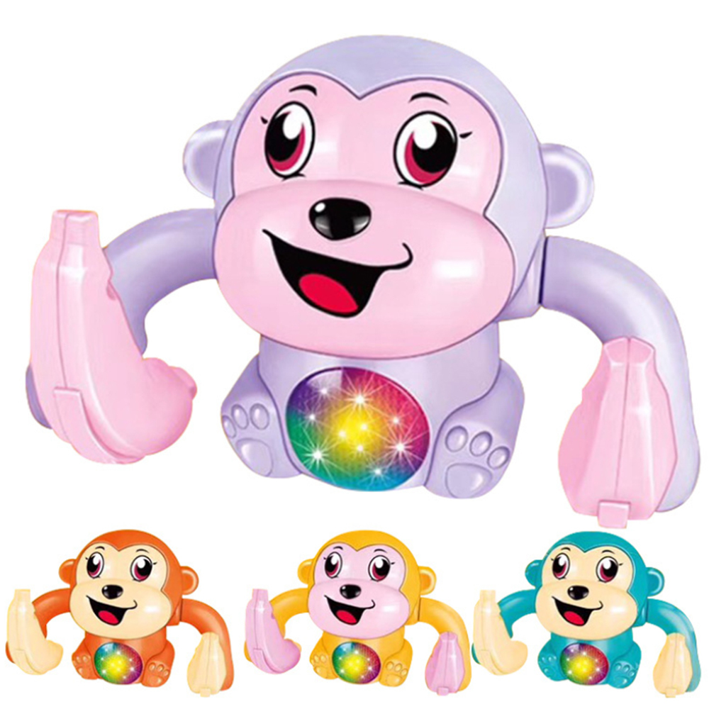 Baby Electric Animal Model Toy Light Sound Electric Tumble Monkey Toy Fun Rolling Doll Voice Control Animal Model Toy