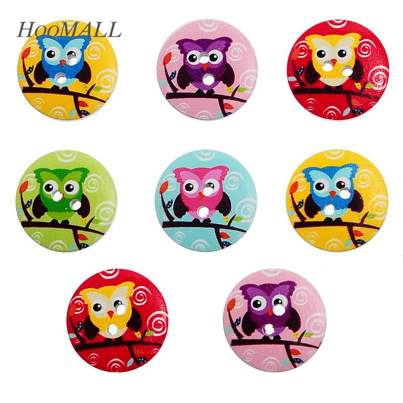 Hoomall 50PCs 2 Holes Cartoon Owl Wooden Buttons Fit Sewing DIY Craft Mixed  Decorative Buttons Scrapbooking 5c3212a83ab2