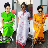 BAIBAZIN Women's African Dress for Women Tie dye Effect ink Painting Mopping Dress African Dashiki